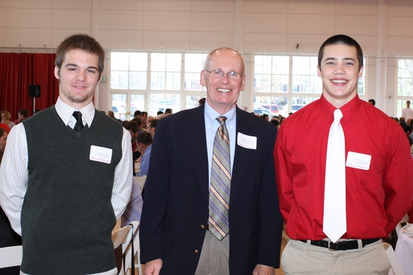 Matt Knox and Kyle Bottos pose with John Birdzell. Matt and Kyle were the recipients of the Dr. John BP. and Helen Birdzell Scholarship, which honors the memory of Mr. Birdzell's mother and father.