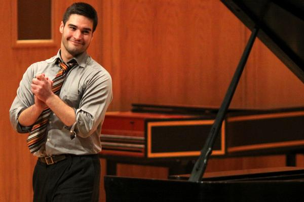 John performed two of his own compositions on jazz piano at his senior recital in Salter Hall.