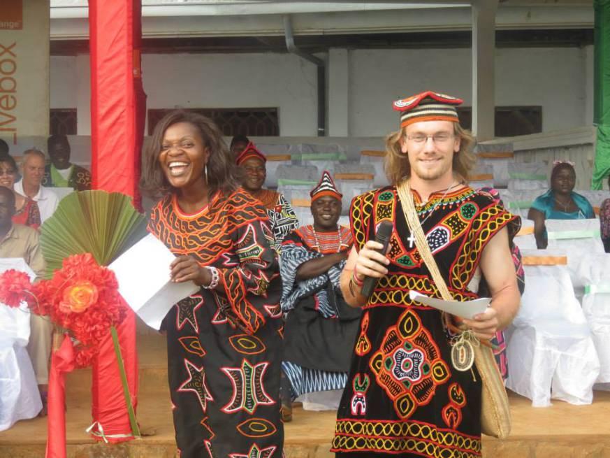 Peace Corps volunteer Jake Moore with community members in Cameroon.