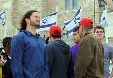 Wabash men in downtown Jerusalem