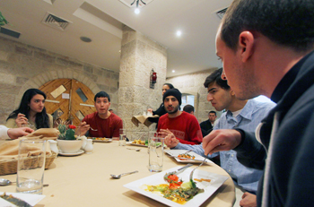 Sharing lunch with Bethlehem University students.