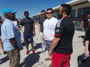 Talking to a former political prisoner of Robben Island at the prison itself.