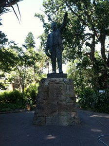 Statue of Cecil John Rhodes, major figure in the colonization of South Africa.