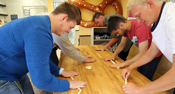 The Wabash guys got a fun break during the week learning to make authentic German pretzels.
