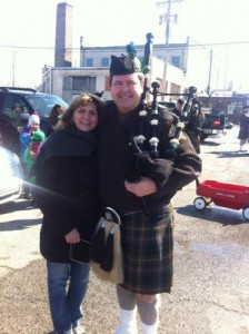 McQuillin prepares to play the bagpipes.