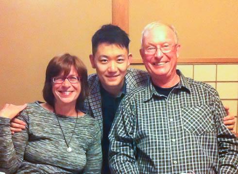 Professor Kay Widdows, Tian Tian, and Richard Widdows